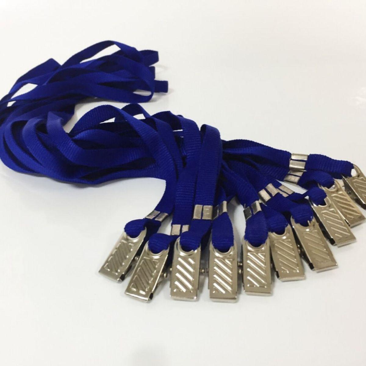 Kit Porta Crachá Rígido Conjugado Cristal + Cordão Azul Royal - 100 unidades  - Click Suprimentos
