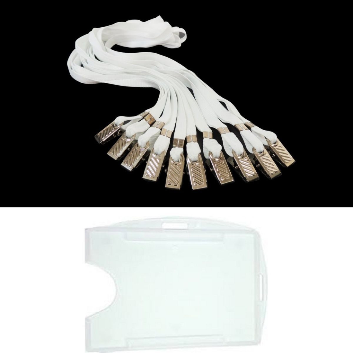 Kit Porta Crachá Rígido Conjugado Cristal + Cordão Branco - 100 unidades  - Click Suprimentos
