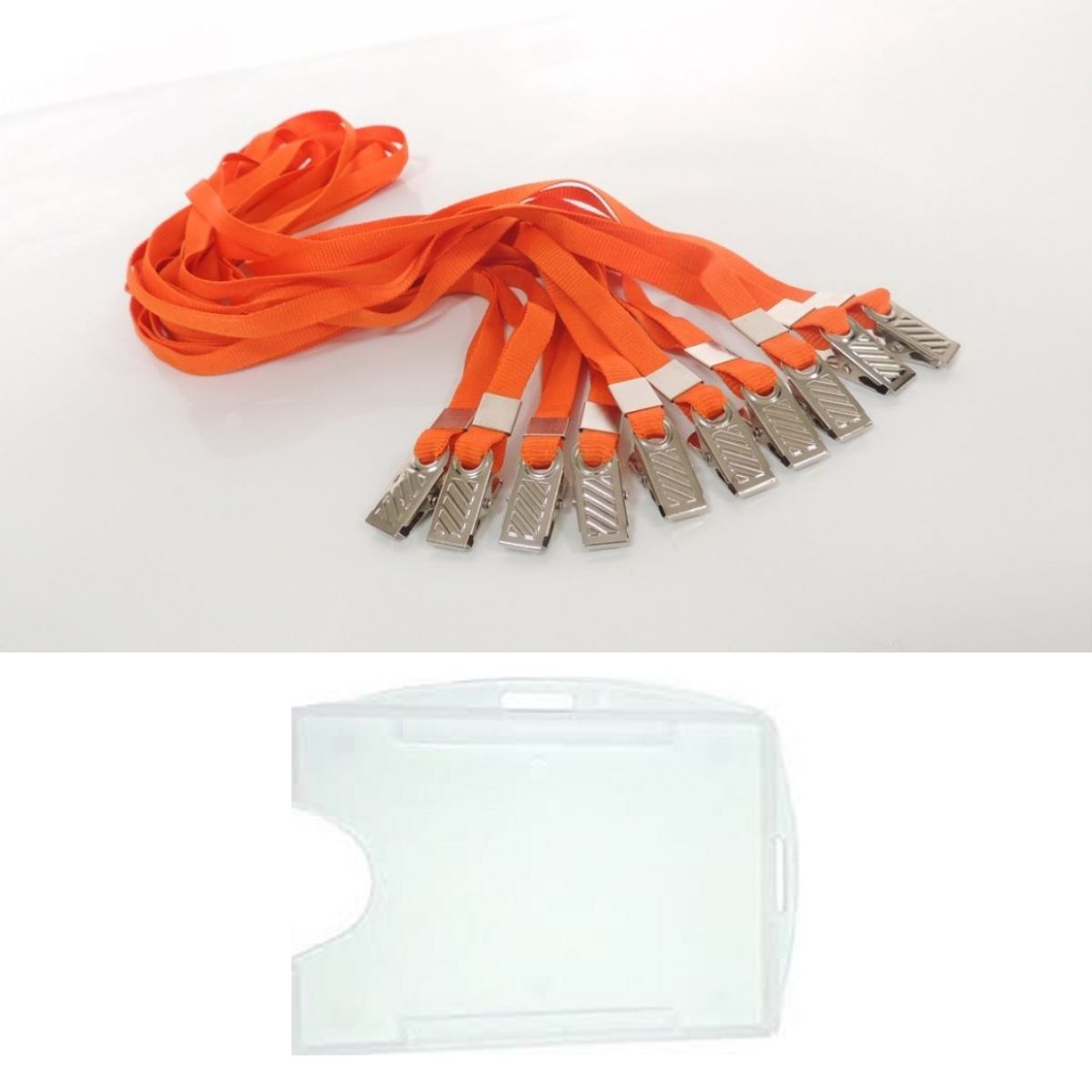 Kit Porta Crachá Rígido Conjugado Cristal + Cordão Laranja - 100 unidades  - Click Suprimentos
