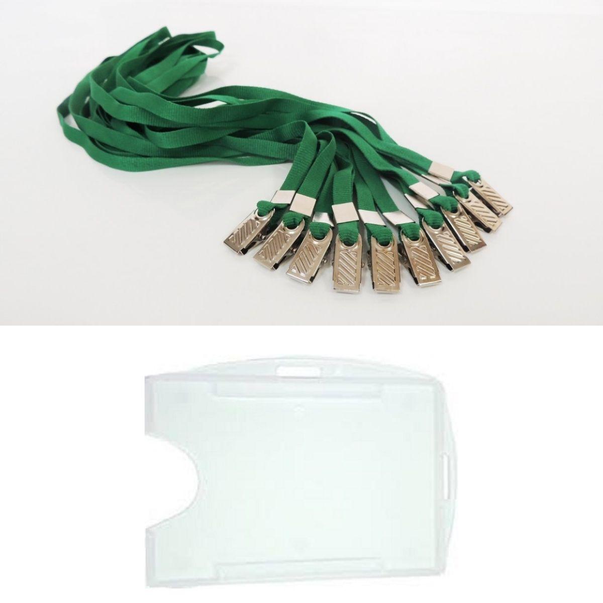 Kit Porta Crachá Rígido Conjugado Cristal + Cordão Verde - 100 unidades  - Click Suprimentos