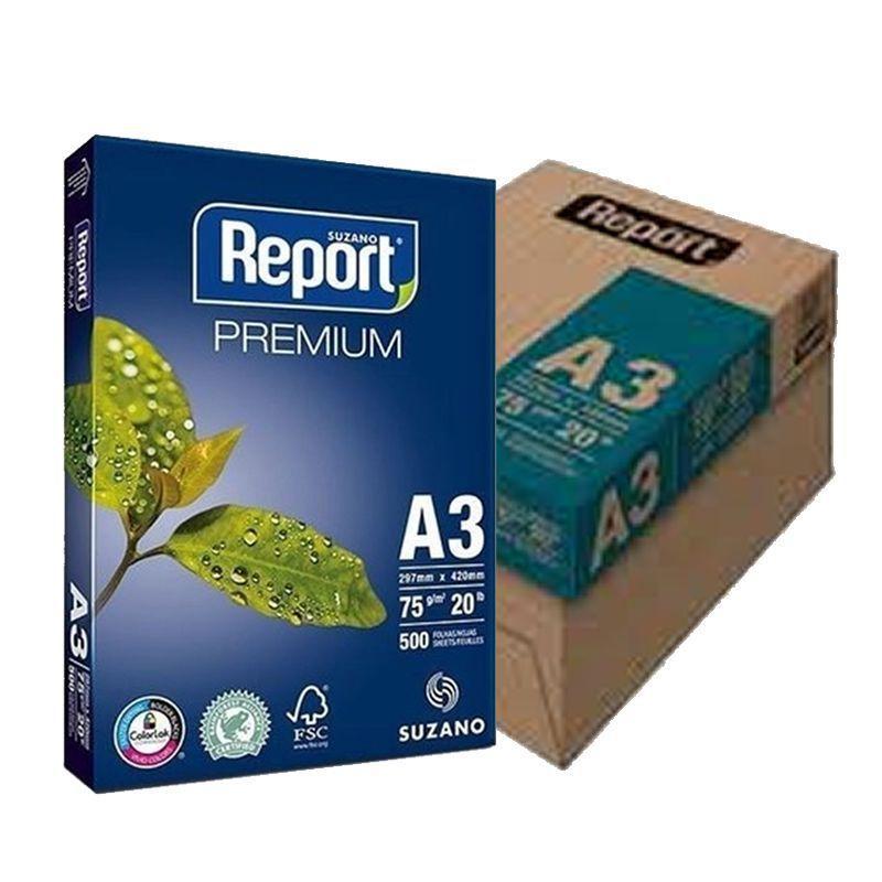 Papel Sulfite Branco Report Premium A3 297x420mm 75g/m² Suzano - Caixa com 2500 Folhas  - Click Suprimentos