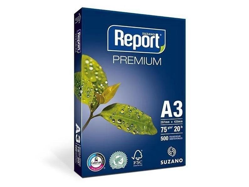 Papel Sulfite Branco Report Premium A3 297x420mm 75g/m² Suzano  - Pacote Com 500 Folhas  - Click Suprimentos