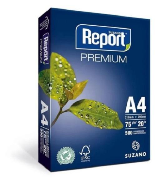 Papel Sulfite Branco Report Premium A4 210x297mm 75g/m² Suzano  - Caixa com 2500 Folhas  - Click Suprimentos