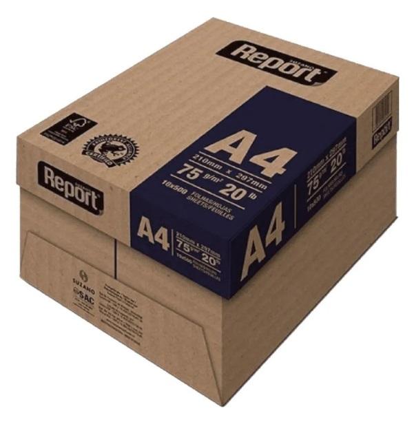 Papel Sulfite Branco Report Premium A4 210x297mm 75g/m² Suzano  - Caixa com 5000 Folhas  - Click Suprimentos