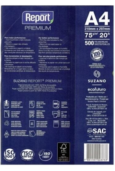 Papel Sulfite Branco Report Premium A4 210x297mm 75g/m² Suzano - Pacote Com 500 Folhas  - Click Suprimentos