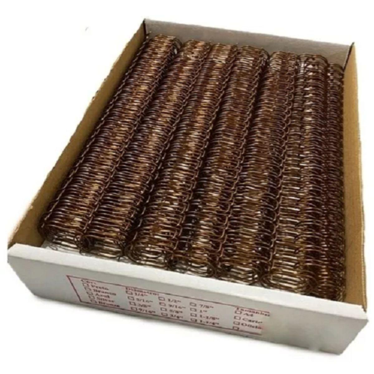 """Wire-o Para Encadernação A4 Bronze 7/8"""" Até 180 Folhas (Passo 2x1) - Caixa com 50 Garras  - Click Suprimentos"""