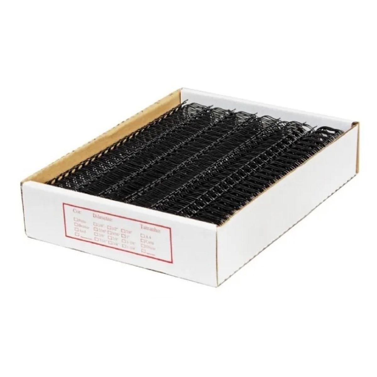 """Wire-o Para Encadernação A4 Preto 1"""" Até 200 Folhas (Passo 2x1) - Caixa com 50 unidades  - Click Suprimentos"""