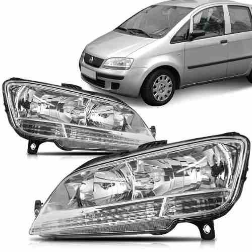 Farol Fiat Idea 2006 2007 2008 2009 2010 Cromado
