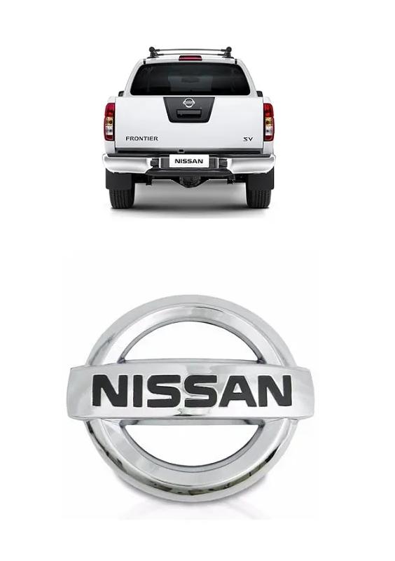 Emblema Tampa Traseira Nissan Frontier 2008 a 2015 Cromado e Preto Para Adaptação