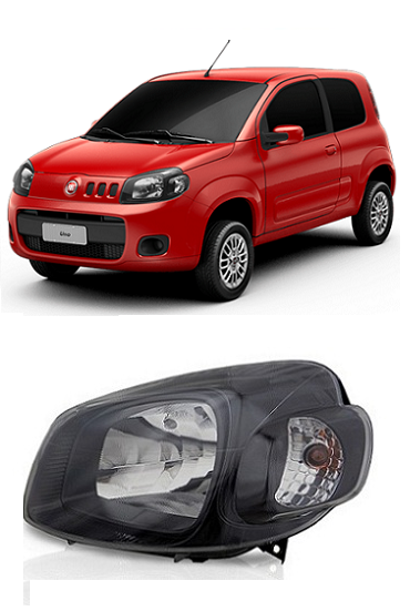 Farol Fiat Uno Vivace 2011 2012 2013 2014 Black