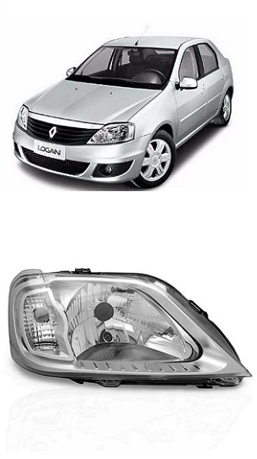 Farol Renault Logan 2007 2008 2009 2010 Cromado