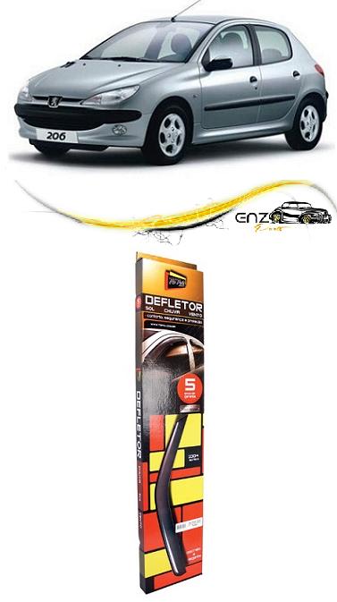Jogo Defletor Calha de Chuva Peugeot 206 2007 Hatch Sedan 2000 a 2012 4 Portas