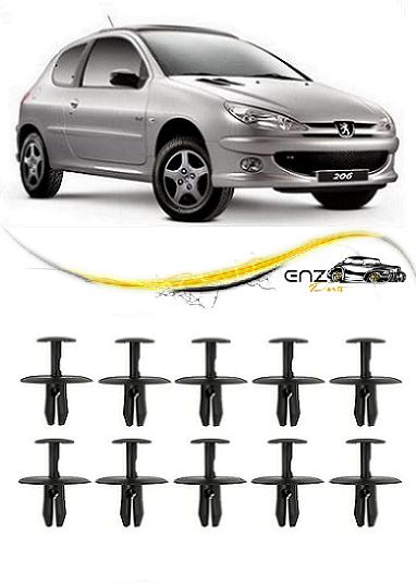 Kit 10 Presilhas do Parabarro Dianteiro Peugeot 206 207