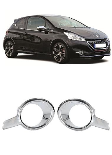 Par Aro Moldura Farol de Milha Peugeot 208 2013 2014 2015 Cromado