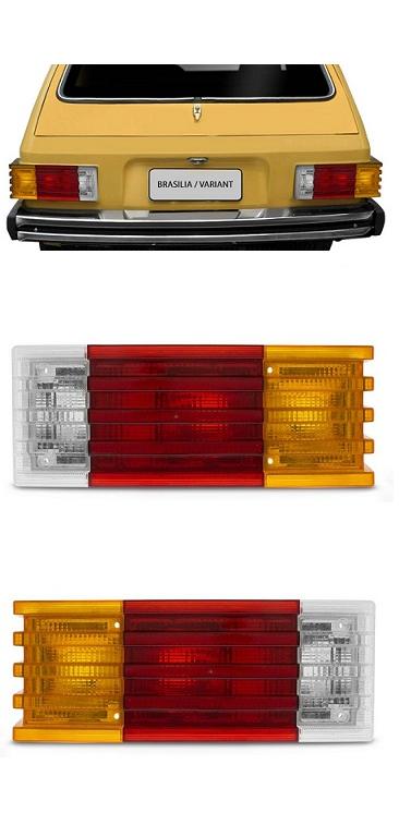 Par Lanterna Traseira Brasilia 1979 1980 1981 1982 Tricolor