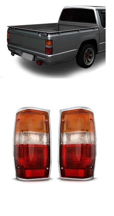 Par Lanterna Traseira L200 1993 a 2003 com Moldura Cromada