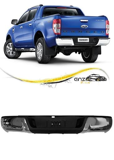 Parachoque Traseiro Ford Ranger 2013 2014 2015 Cromado com Furo de Sensor