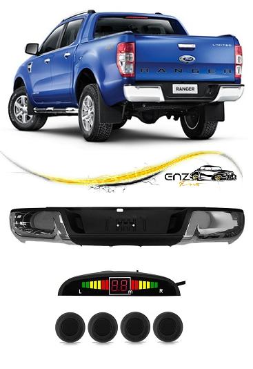 Parachoque Traseiro Ford Ranger 2013 2014 2015 Cromado com Furo de Sensor + Sensor Estacionamento