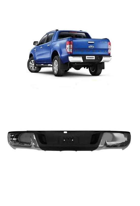 Parachoque Traseiro Ford Ranger 2013 2014 2015 Cromado sem Furo de Sensor