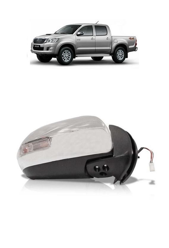 Retrovisor Elétrico Hilux SW4 e Pickup 2012 2013 2014 Cromado com Pisca