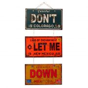 "Jogo de Placas Decorativas ""Don´t Let Me Down"" The Beatles"