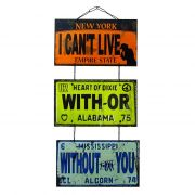 "Jogo de Placas Decorativas ""With Or Without You"" U2"