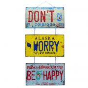 "Jogo de Placas Decorativas ""Don´t Worry, Be Happy"" Bobby McFerrin"