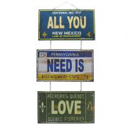 "Jogo de Placas Decorativas ""All You Need is Love"" The Beatles"