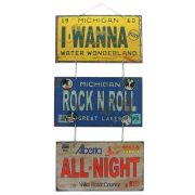 "Jogo de Placas Decorativas ""Rock and Roll All Night "" Kiss"