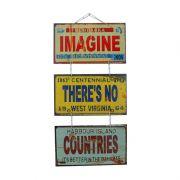 "Jogo de Placas Decorativas ""Imagine"" John Lennon"