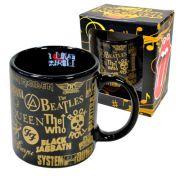 Caneca em Cerâmica Bandas de Rock Preta e Dourada - 340ml