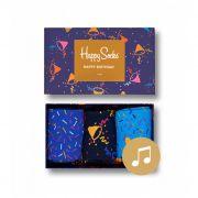 Kit com 3 Meias Coloridas em Algodão Happy Birthday - Happy Socks