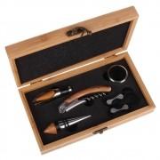 Kit para Vinho 5 Peças com Estojo em Bambu