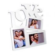 Porta-Retrato Love Plástico Branco 3 Fotos