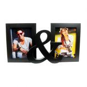 Porta-Retrato Você & Eu Plástico Preto 2 Fotos