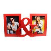 Porta-Retrato Você & Eu Plástico Vermelho 2 Fotos