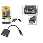 Cabo Conversor HDMI para VGA Femea PC PS3 Projetor Audio 24 Centimetros Conversor Generico