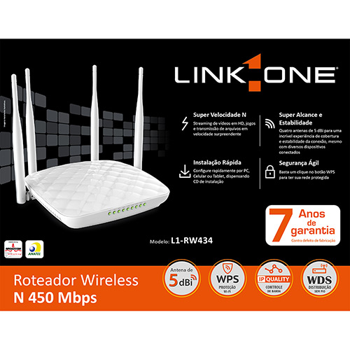 Roteador Wireless 450Mbps - L1-RW434 - Link One  - skalla magazine
