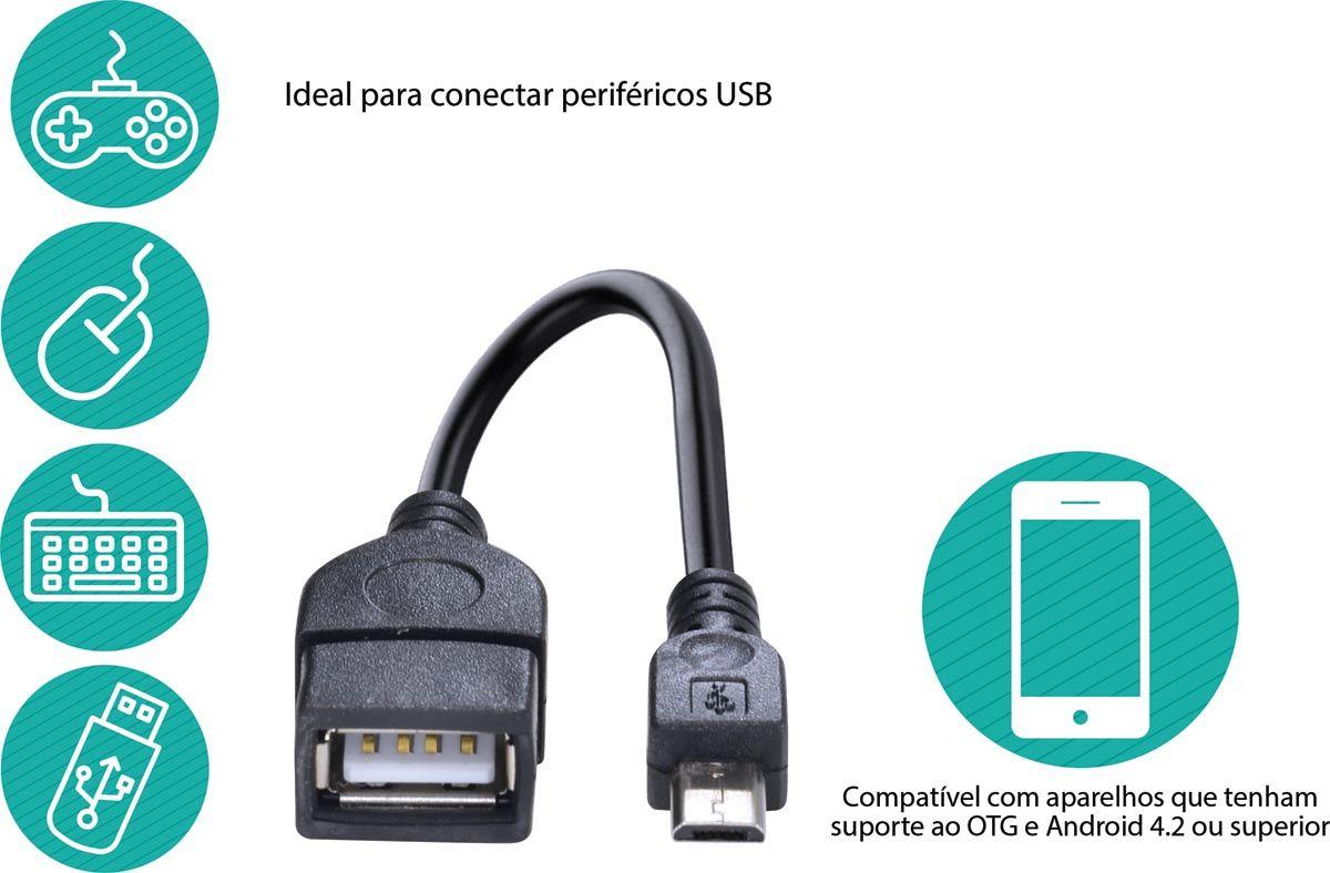 ADAPTADOR USB FÊMEA PARA MICRO USB COM FUNÇÃO OTG UFMU-OTG