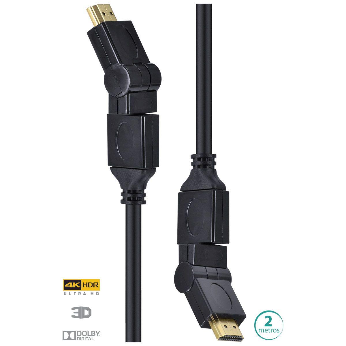 CABO HDMI 2.0 4K ULTRA HD 3D CONEXÃO ETHERNET CONECTORES 360° 2 METROS - H20B360-2