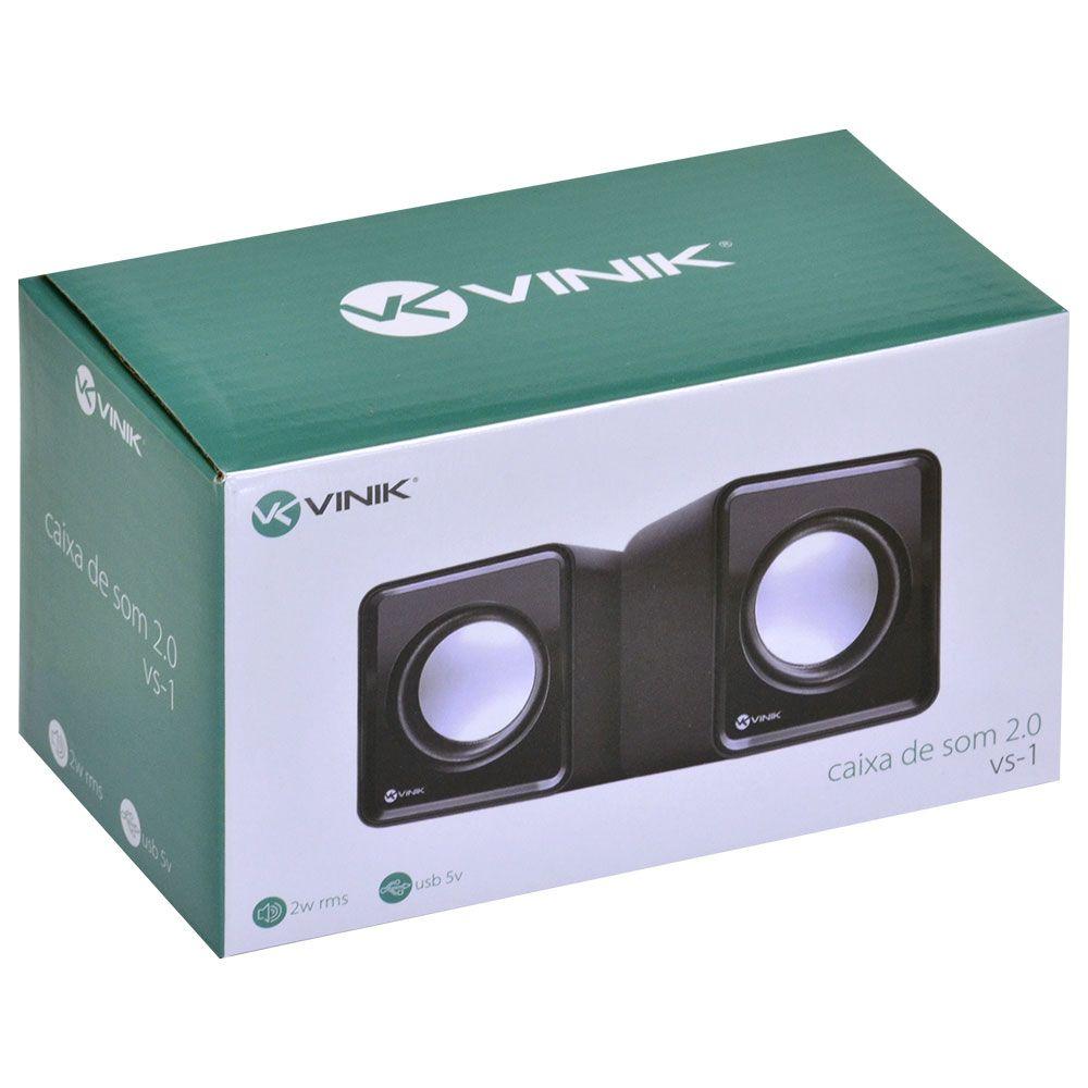 CAIXA DE SOM 2.0 USB 5V 2X 1W COM CONTROLADOR DE VOLUME - VS-01   - skalla magazine
