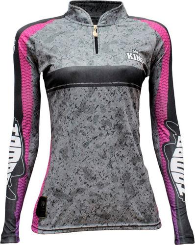 Camisa De Pesca Com Proteção Uv 50 + Feminina
