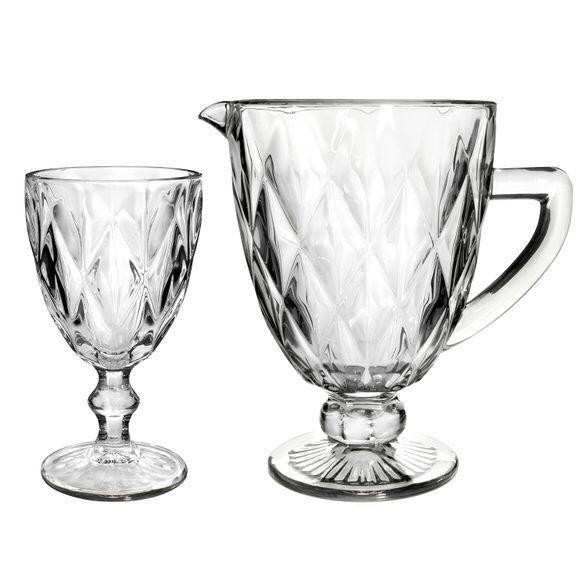 Jarra de Vidro Diamond Transparente 1 Litro e Jogo de 6 taças 260 ml Transparente