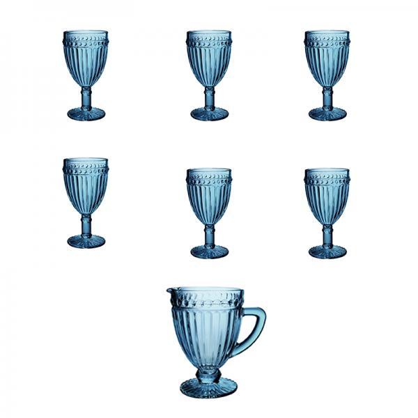 Jogo de 6 taças de 320 ml e Jarra de 1 litro Empire Azul