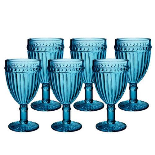Jogo de 6 taças de 320 ml e Jarra de 1 litro Empire Azul  - skalla magazine
