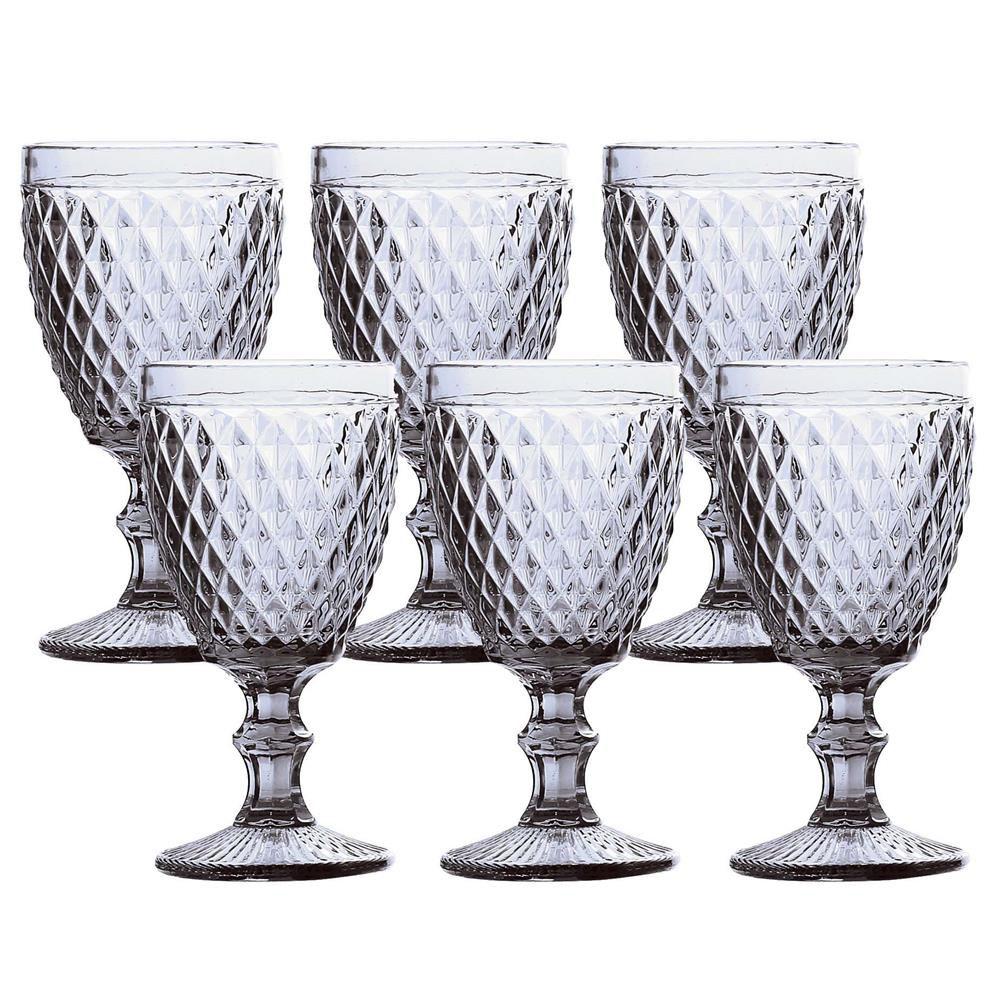 Jogo de 6 Taças para Água de Vidro Bico de Abacaxi Transparente 260 ML
