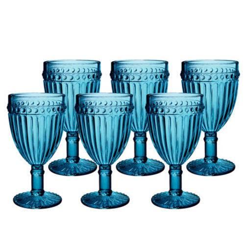 Jogo de 6 taças para Água de Vidro Empire Azul 320ml Lyor