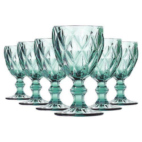 Jogo de 6 Taças para Água de vidro Sodo Calcico Diamond Azul Tiffany 1l