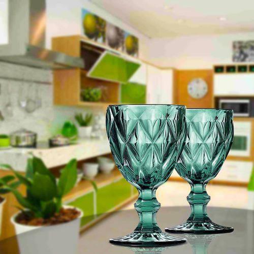 Jogo de 6 Taças para Água de vidro Sodo Calcico Diamond Azul Tiffany 1l  - skalla magazine