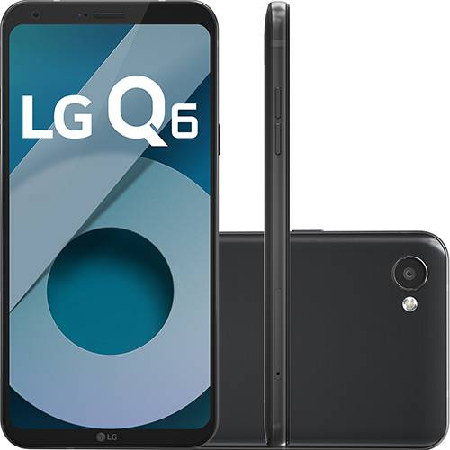 "Smartphone LG Q6 Dual Chip Android 7.0 Tela 5.5"" Full Hd+ Octacore 32GB 4G Câmera 13MP - Preto  - skalla magazine"